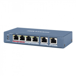 Switch PoE Hikvision DS-3E0106HP-E longue distance 300 mètres 6 ports dont 4 ports PoE