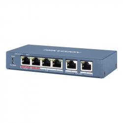 Switch PoE Hikvision DS-3E0106HP-E longue distance 300 mètres 6 ports dont 4 ports PoE